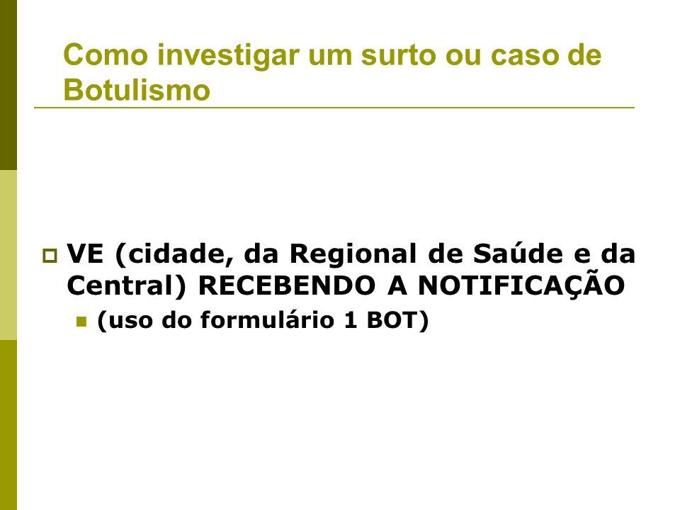 VE (cidade, da Regional de Saúde e da Central) RECEBENDO A NOTIFICAÇÃO (uso do formulário 1 BOT) Como investigar um surto ou caso de Botulismo