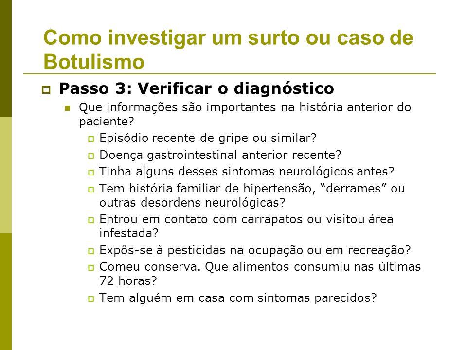 Passo 4 - Definindo e identificando casos: Características dos 7 casos na cidade Vizinha - 18 a 19 de fevereiro de 2002 Como investigar um surto ou caso de Botulismo ____________________________________________________________________________ Caso IS Ptose Diplopia Disfagia Visão Turva Boca seca Paralisia Dispnéia Hosp.