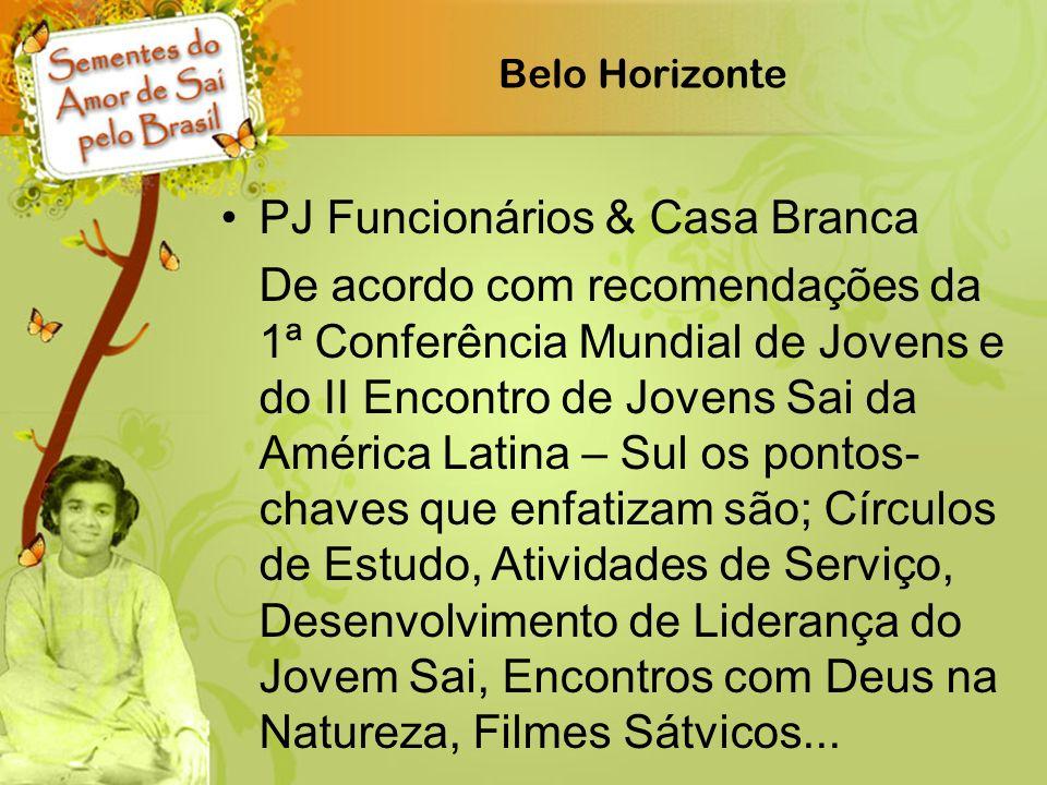 Belo Horizonte PJ Funcionários & Casa Branca De acordo com recomendações da 1ª Conferência Mundial de Jovens e do II Encontro de Jovens Sai da América