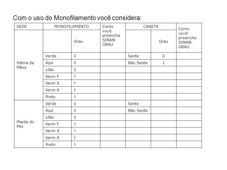 Com o uso do Monofilamento você considera: SEDEMONOFILAMENTO Como você preenche SINAN- GRAU CANETA Como você preenche SINAN- GRAU Palma da Mãos Grau V
