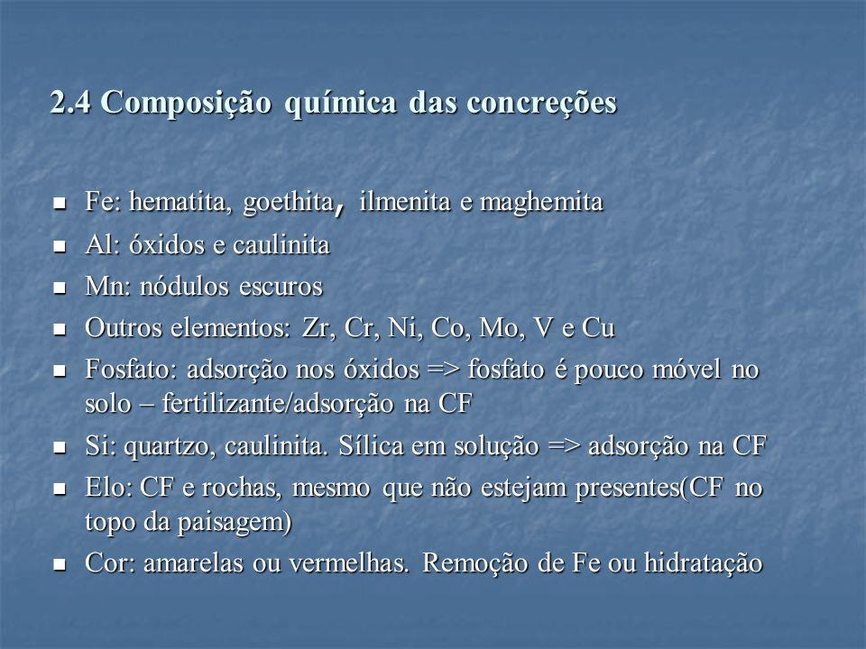 2.4 Composição química das concreções Fe: hematita, goethita, ilmenita e maghemita Fe: hematita, goethita, ilmenita e maghemita Al: óxidos e caulinita