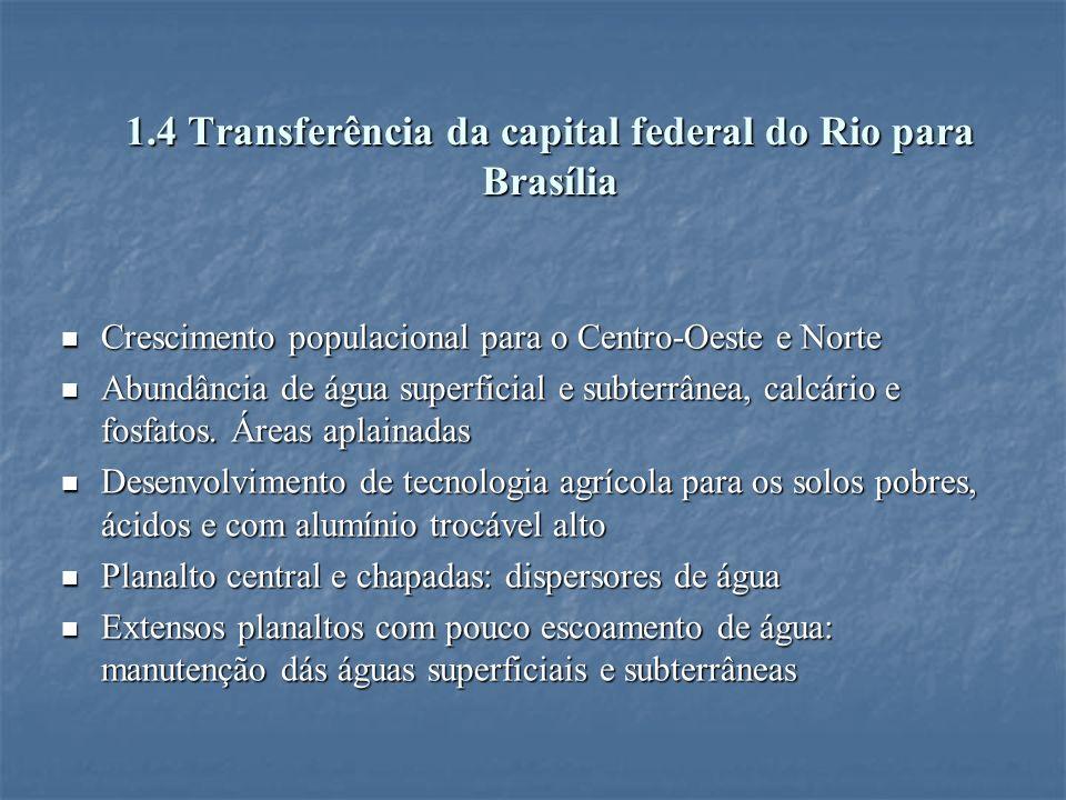 1.4 Transferência da capital federal do Rio para Brasília Crescimento populacional para o Centro-Oeste e Norte Crescimento populacional para o Centro-