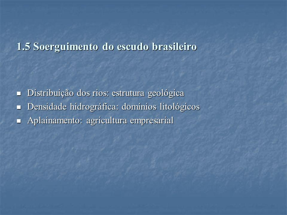 1.5 Soerguimento do escudo brasileiro Distribuição dos rios: estrutura geológica Distribuição dos rios: estrutura geológica Densidade hidrográfica: do