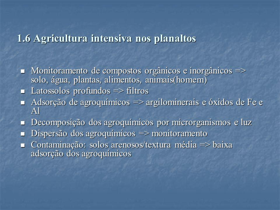 1.6 Agricultura intensiva nos planaltos Monitoramento de compostos orgânicos e inorgânicos => solo, água, plantas, alimentos, animais(homem) Monitoram