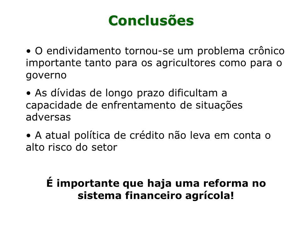 Conclusões O endividamento tornou-se um problema crônico importante tanto para os agricultores como para o governo As dívidas de longo prazo dificulta