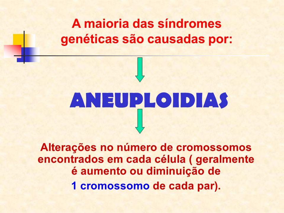 A maioria das síndromes genéticas são causadas por: ANEUPLOIDIAS Alterações no número de cromossomos encontrados em cada célula ( geralmente é aumento