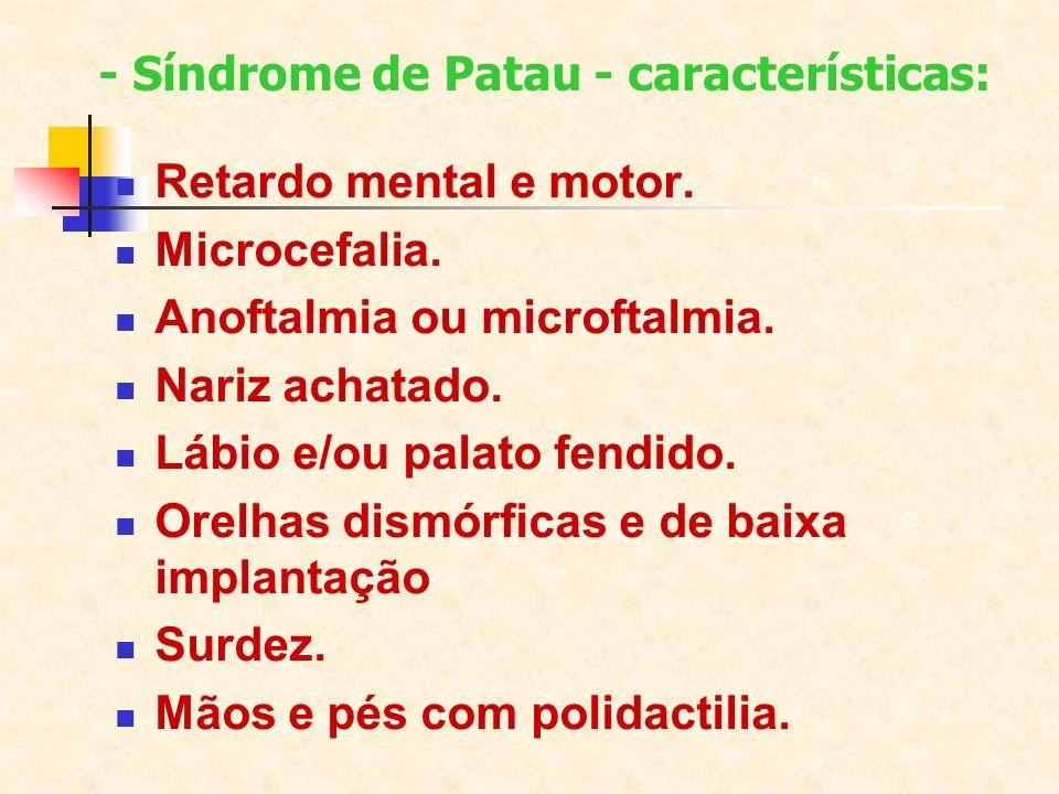 Retardo mental e motor. Microcefalia. Anoftalmia ou microftalmia. Nariz achatado. Lábio e/ou palato fendido. Orelhas dismórficas e de baixa implantaçã
