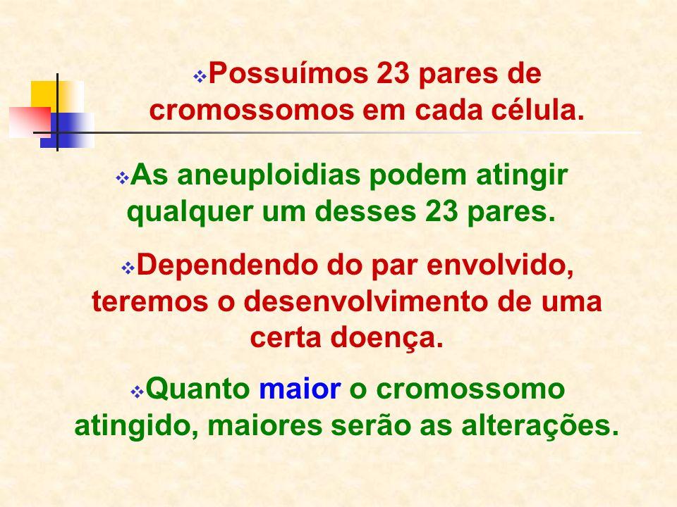 Possuímos 23 pares de cromossomos em cada célula. As aneuploidias podem atingir qualquer um desses 23 pares. Dependendo do par envolvido, teremos o de