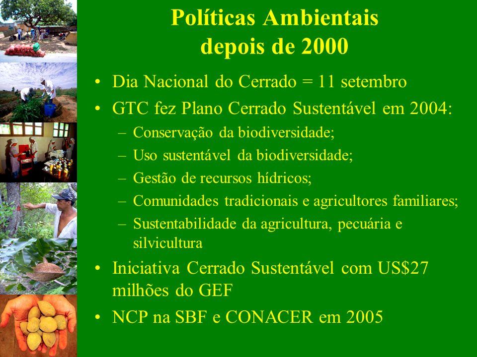 Dia Nacional do Cerrado = 11 setembro GTC fez Plano Cerrado Sustentável em 2004: –Conservação da biodiversidade; –Uso sustentável da biodiversidade; –