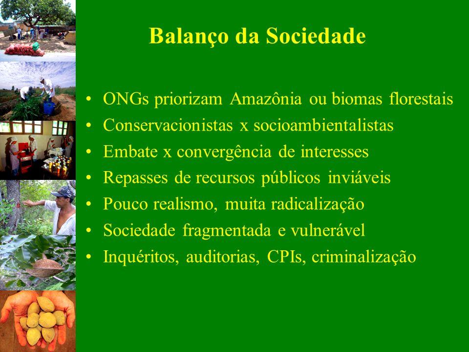 Balanço da Sociedade ONGs priorizam Amazônia ou biomas florestais Conservacionistas x socioambientalistas Embate x convergência de interesses Repasses