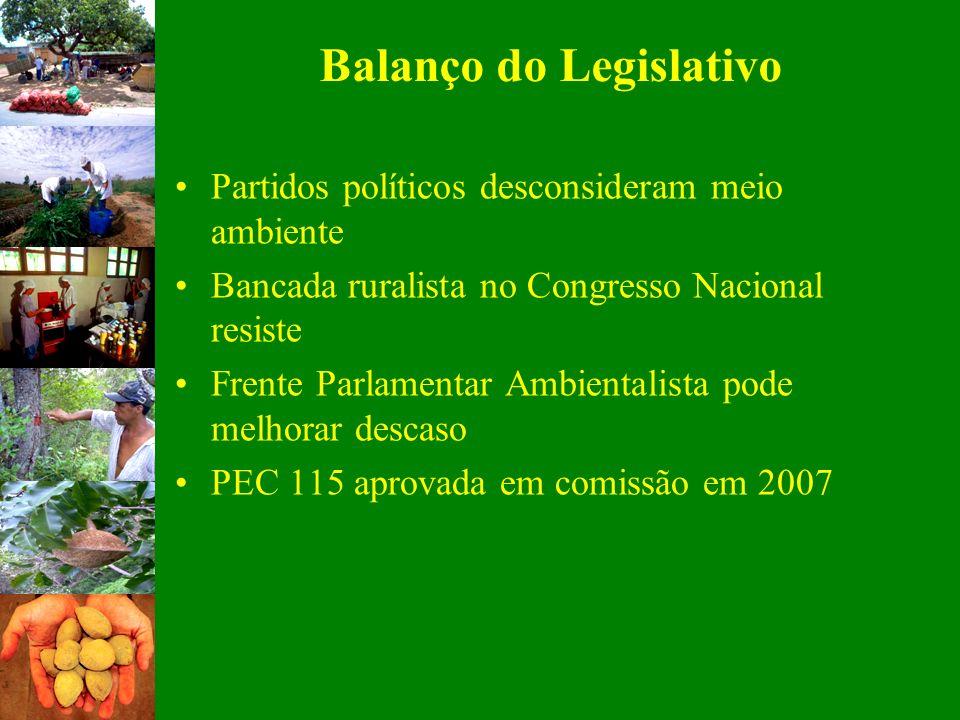 Balanço do Legislativo Partidos políticos desconsideram meio ambiente Bancada ruralista no Congresso Nacional resiste Frente Parlamentar Ambientalista