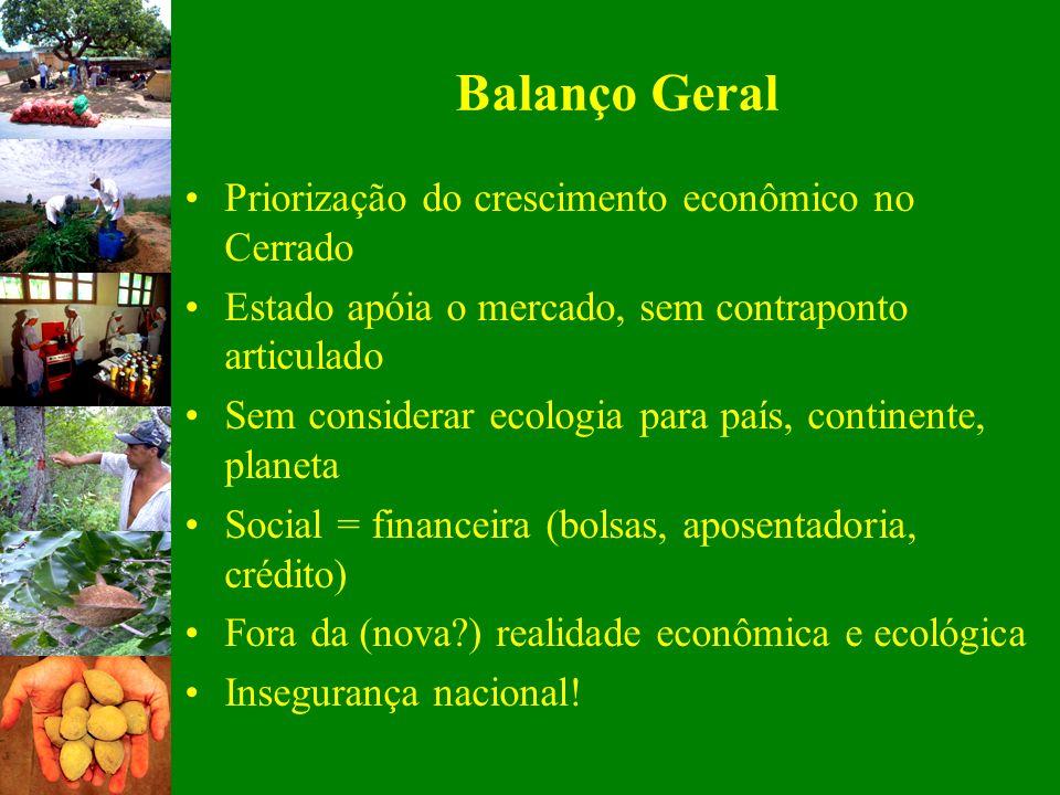 Balanço Geral Priorização do crescimento econômico no Cerrado Estado apóia o mercado, sem contraponto articulado Sem considerar ecologia para país, co