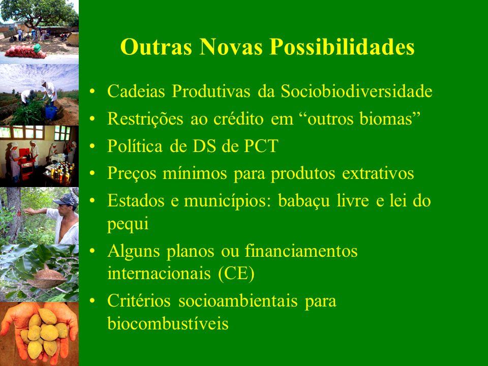 Outras Novas Possibilidades Cadeias Produtivas da Sociobiodiversidade Restrições ao crédito em outros biomas Política de DS de PCT Preços mínimos para