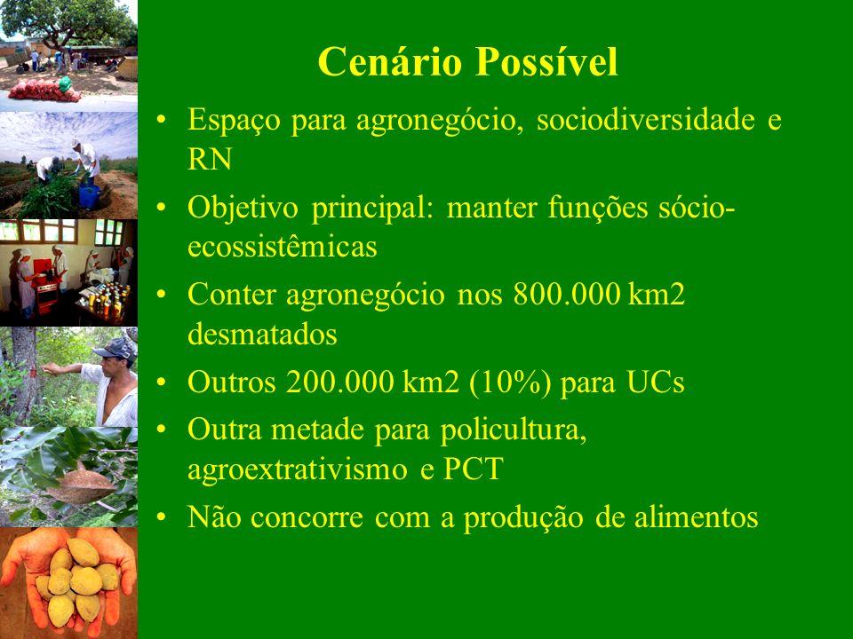 Cenário Possível Espaço para agronegócio, sociodiversidade e RN Objetivo principal: manter funções sócio- ecossistêmicas Conter agronegócio nos 800.00