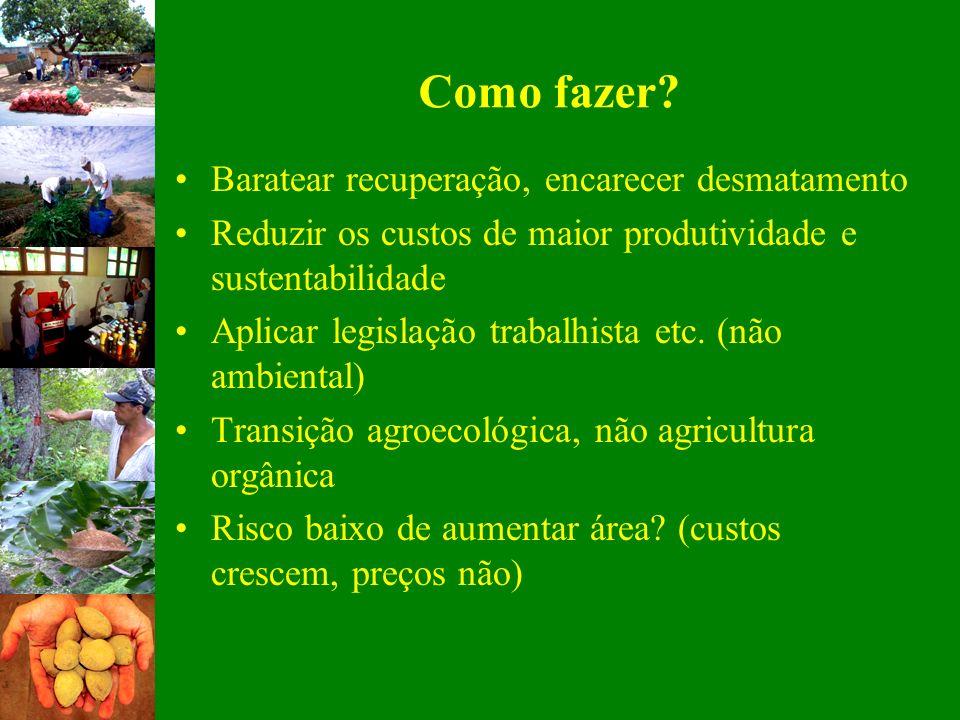 Como fazer? Baratear recuperação, encarecer desmatamento Reduzir os custos de maior produtividade e sustentabilidade Aplicar legislação trabalhista et