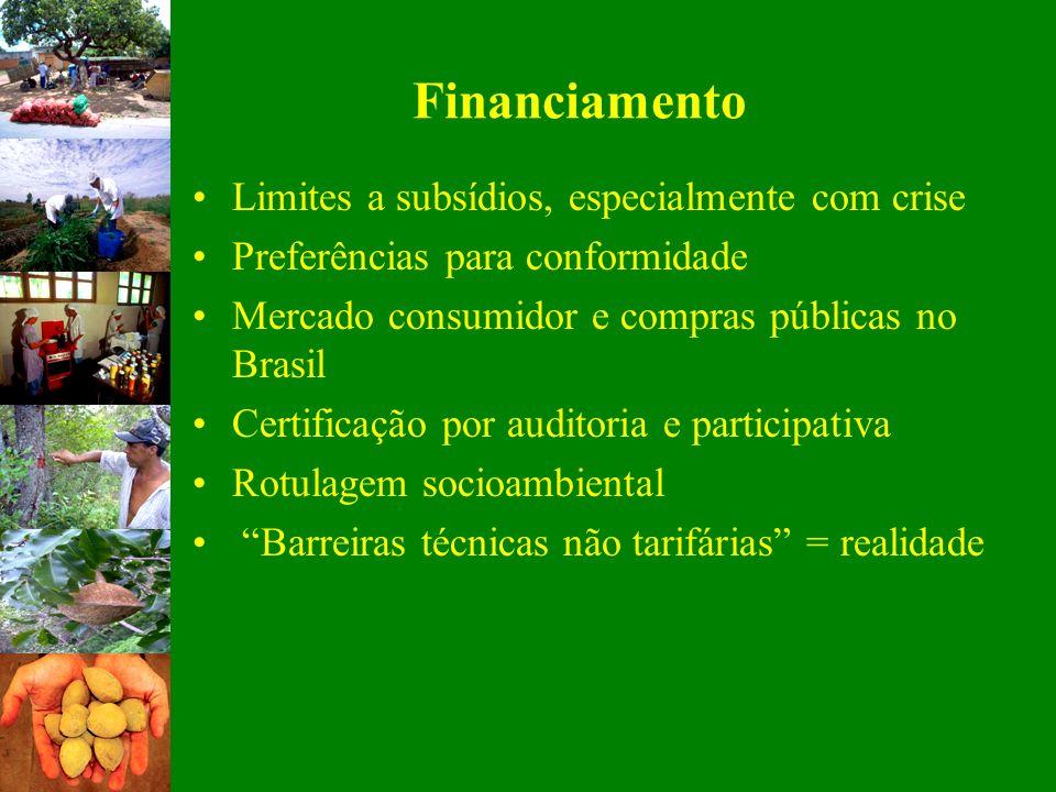 Financiamento Limites a subsídios, especialmente com crise Preferências para conformidade Mercado consumidor e compras públicas no Brasil Certificação