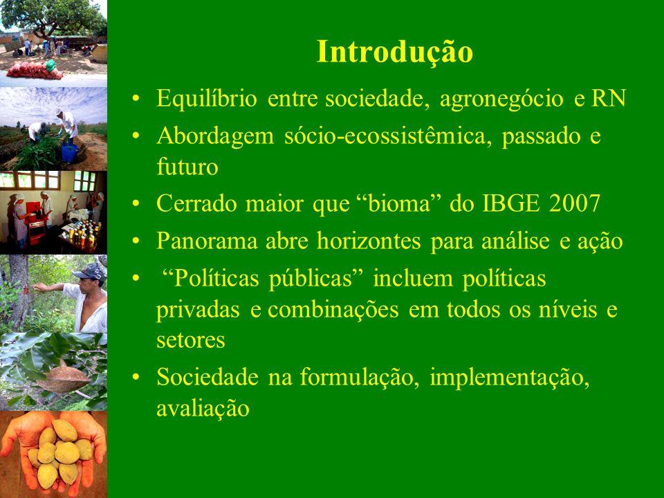 Introdução Equilíbrio entre sociedade, agronegócio e RN Abordagem sócio-ecossistêmica, passado e futuro Cerrado maior que bioma do IBGE 2007 Panorama