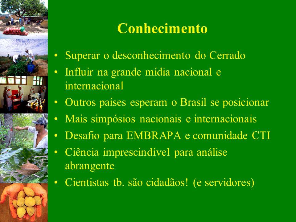 Conhecimento Superar o desconhecimento do Cerrado Influir na grande mídia nacional e internacional Outros países esperam o Brasil se posicionar Mais s