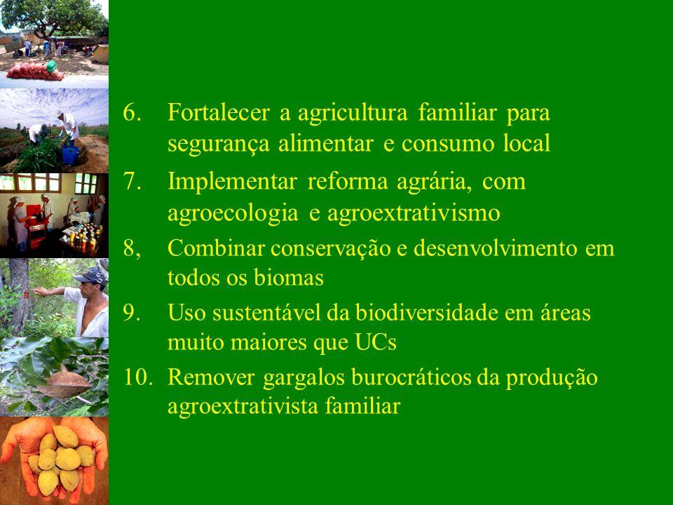 6.Fortalecer a agricultura familiar para segurança alimentar e consumo local 7.Implementar reforma agrária, com agroecologia e agroextrativismo 8,Comb