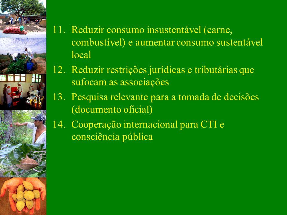 11.Reduzir consumo insustentável (carne, combustível) e aumentar consumo sustentável local 12.Reduzir restrições jurídicas e tributárias que sufocam a
