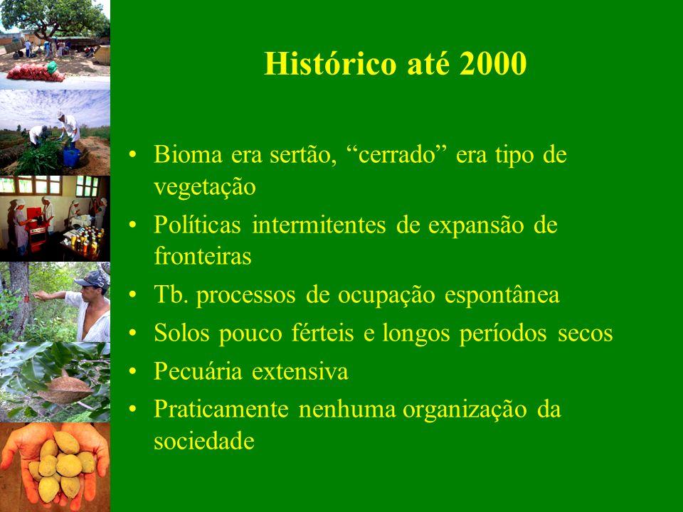 Histórico até 2000 Bioma era sertão, cerrado era tipo de vegetação Políticas intermitentes de expansão de fronteiras Tb. processos de ocupação espontâ