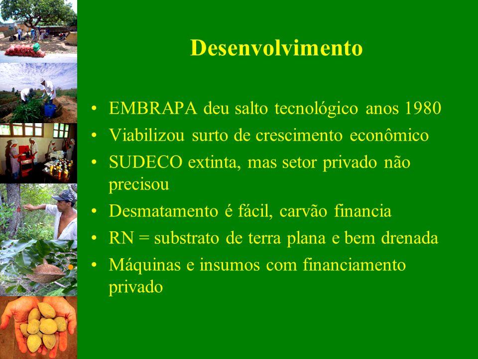 EMBRAPA deu salto tecnológico anos 1980 Viabilizou surto de crescimento econômico SUDECO extinta, mas setor privado não precisou Desmatamento é fácil,
