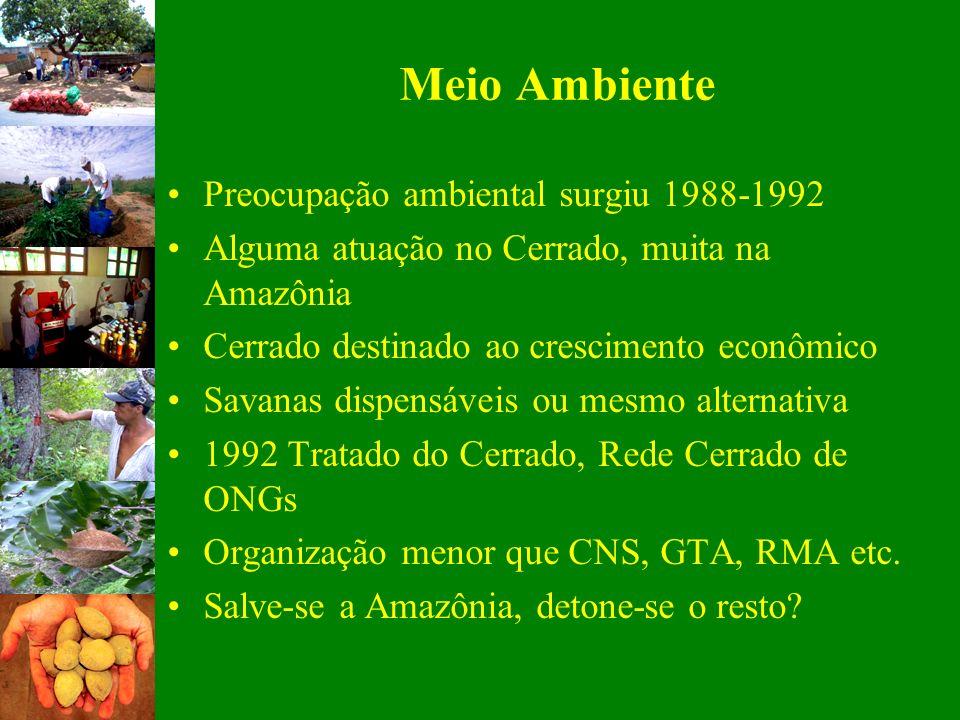 Meio Ambiente Preocupação ambiental surgiu 1988-1992 Alguma atuação no Cerrado, muita na Amazônia Cerrado destinado ao crescimento econômico Savanas d