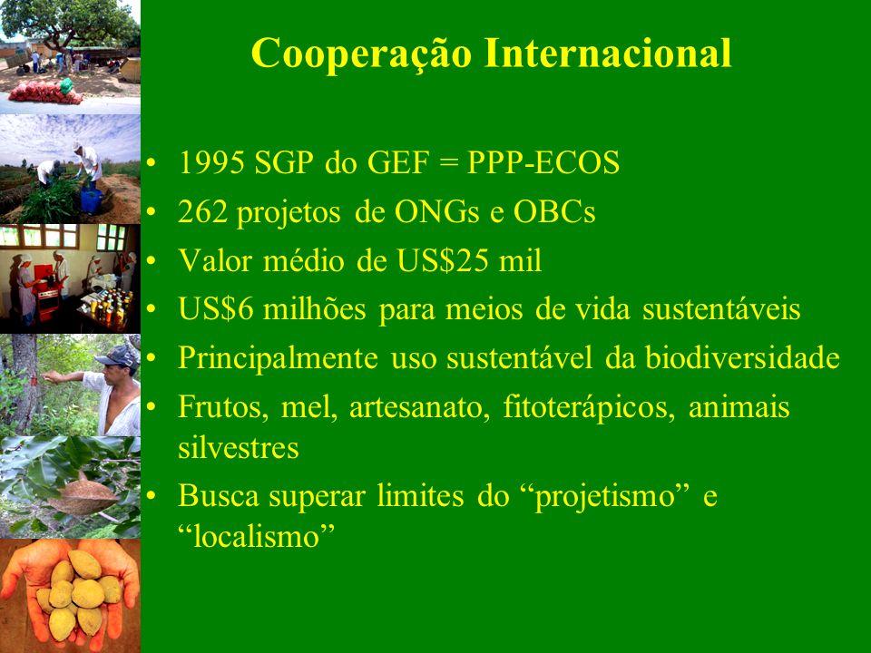 1995 SGP do GEF = PPP-ECOS 262 projetos de ONGs e OBCs Valor médio de US$25 mil US$6 milhões para meios de vida sustentáveis Principalmente uso susten