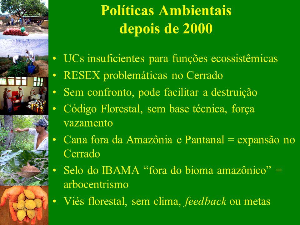 UCs insuficientes para funções ecossistêmicas RESEX problemáticas no Cerrado Sem confronto, pode facilitar a destruição Código Florestal, sem base téc