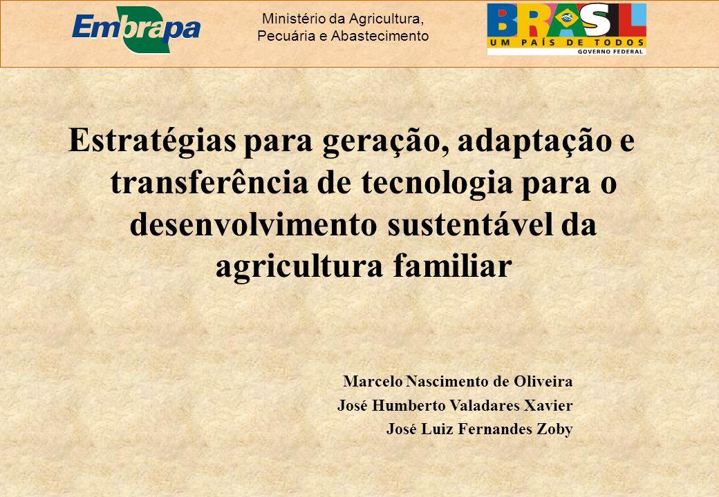 Estratégias para geração, adaptação e transferência de tecnologia para o desenvolvimento sustentável da agricultura familiar Ministério da Agricultura