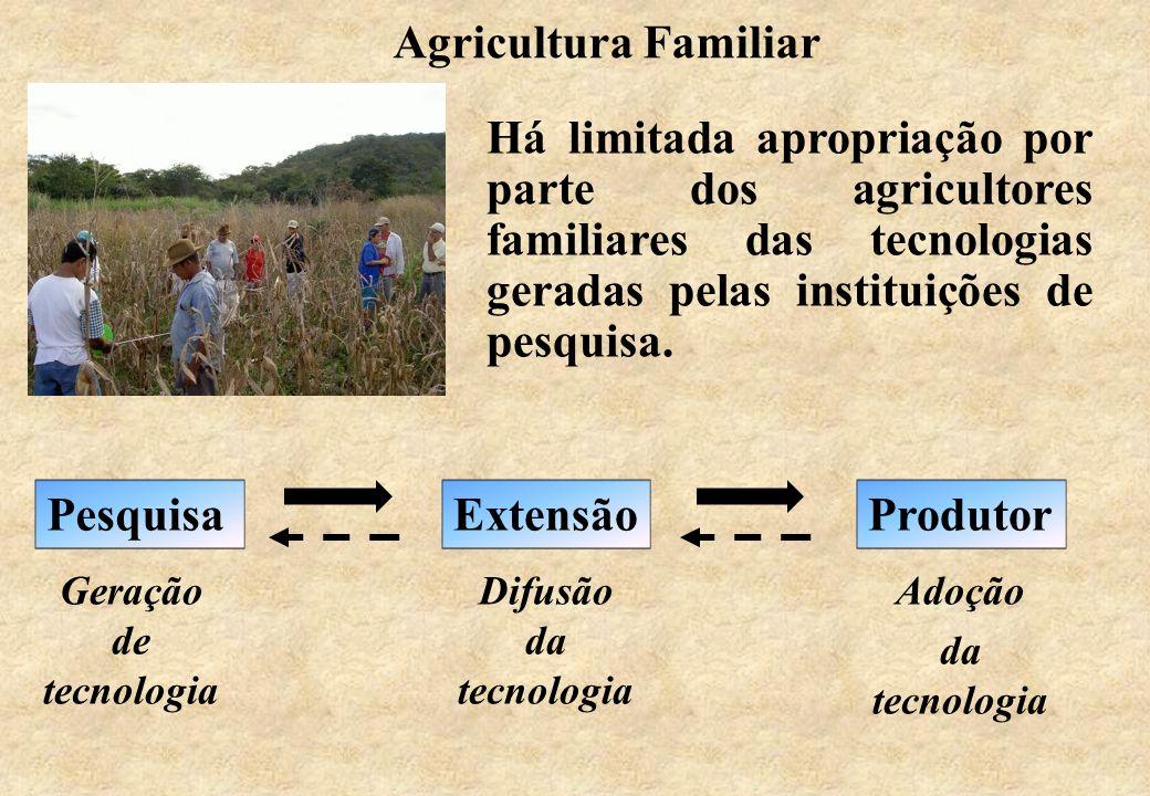 Há limitada apropriação por parte dos agricultores familiares das tecnologias geradas pelas instituições de pesquisa. ExtensãoProdutorPesquisa Difusão