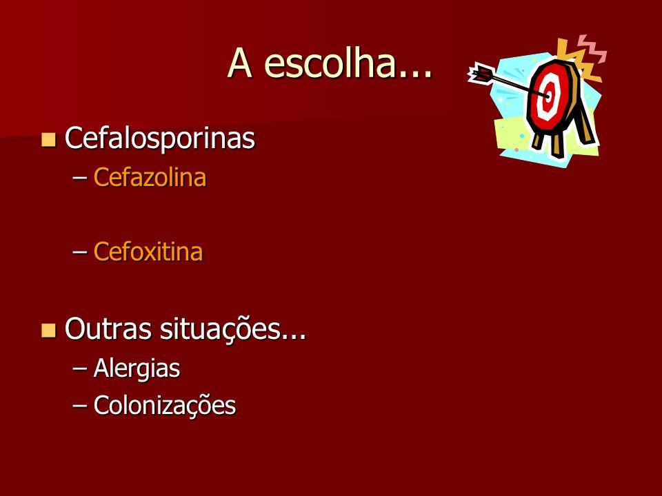 A escolha... Cefalosporinas Cefalosporinas –Cefazolina –Cefoxitina Outras situações... Outras situações... –Alergias –Colonizações