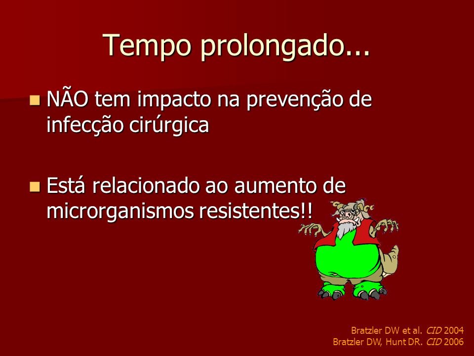 Tempo prolongado... NÃO tem impacto na prevenção de infecção cirúrgica NÃO tem impacto na prevenção de infecção cirúrgica Está relacionado ao aumento