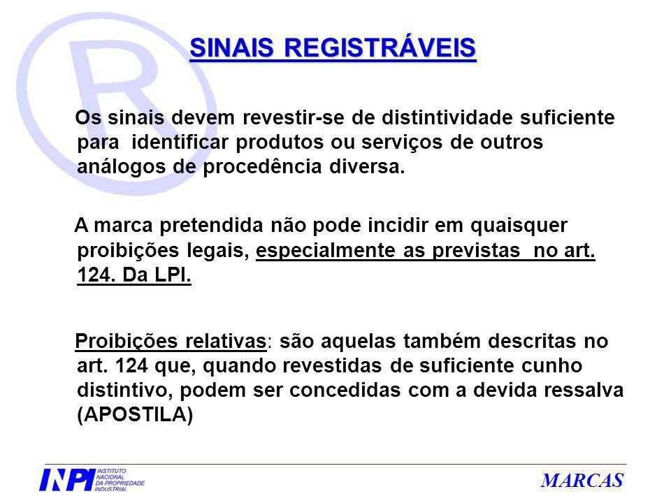 MARCAS SINAIS REGISTRÁVEIS Os sinais devem revestir-se de distintividade suficiente para identificar produtos ou serviços de outros análogos de proced