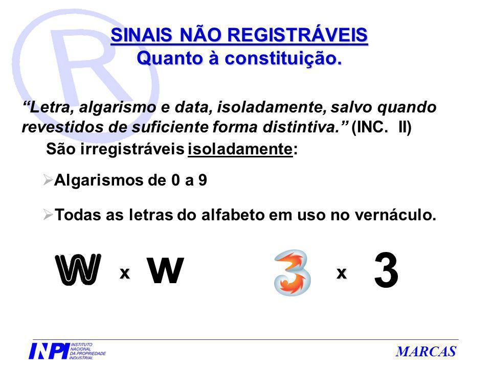 MARCAS Letra, algarismo e data, isoladamente, salvo quando revestidos de suficiente forma distintiva. (INC. II) São irregistráveis isoladamente: Algar