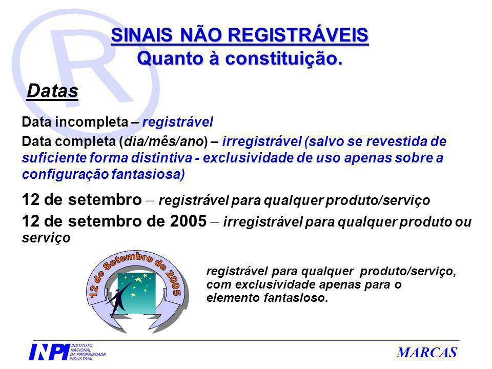 MARCAS 12 de setembro – registrável para qualquer produto/serviço 12 de setembro de 2005 – irregistrável para qualquer produto ou serviço Data incompl