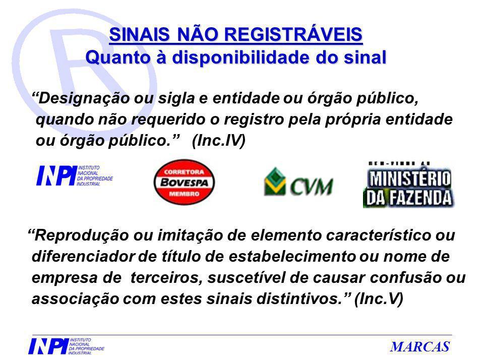 MARCAS Designação ou sigla e entidade ou órgão público, quando não requerido o registro pela própria entidade ou órgão público. (Inc.IV) Reprodução ou