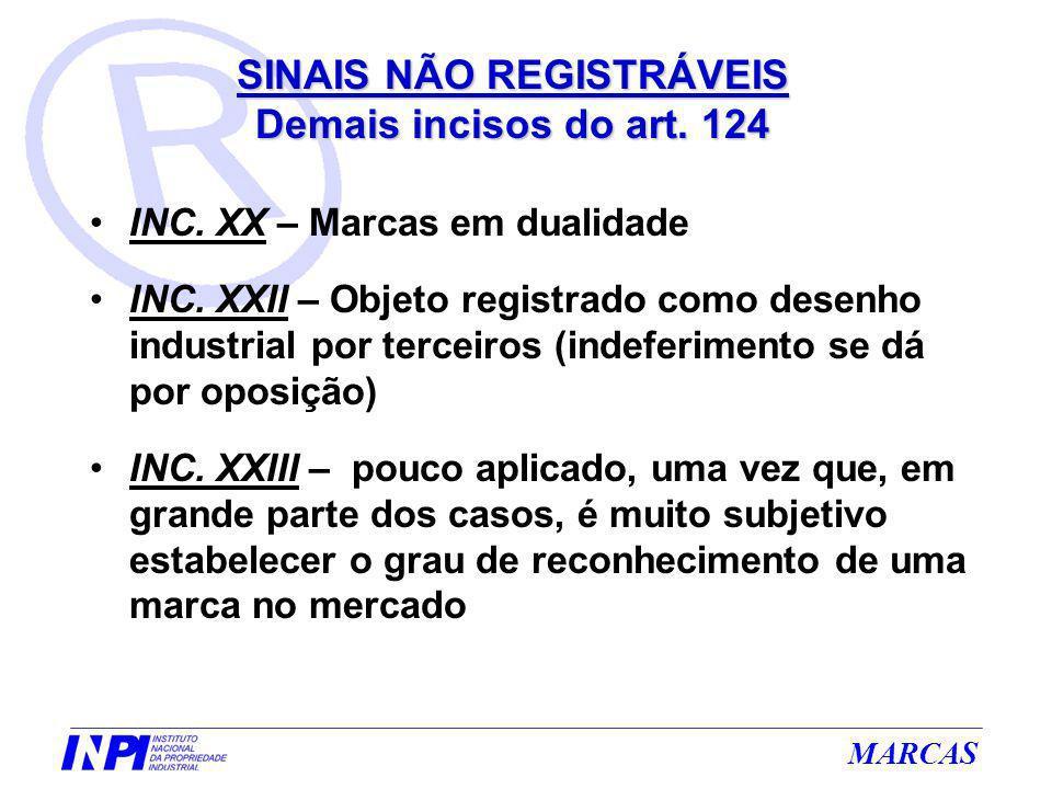 MARCAS INC. XX – Marcas em dualidade INC. XXII – Objeto registrado como desenho industrial por terceiros (indeferimento se dá por oposição) INC. XXIII