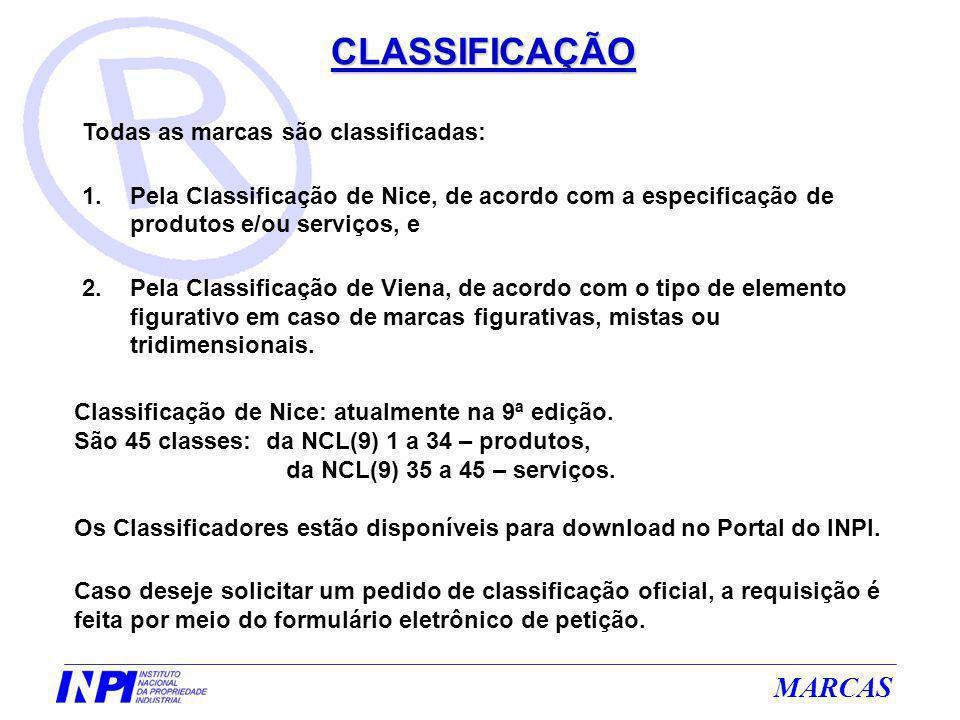 MARCAS CLASSIFICAÇÃO Todas as marcas são classificadas: 1.Pela Classificação de Nice, de acordo com a especificação de produtos e/ou serviços, e 2.Pel