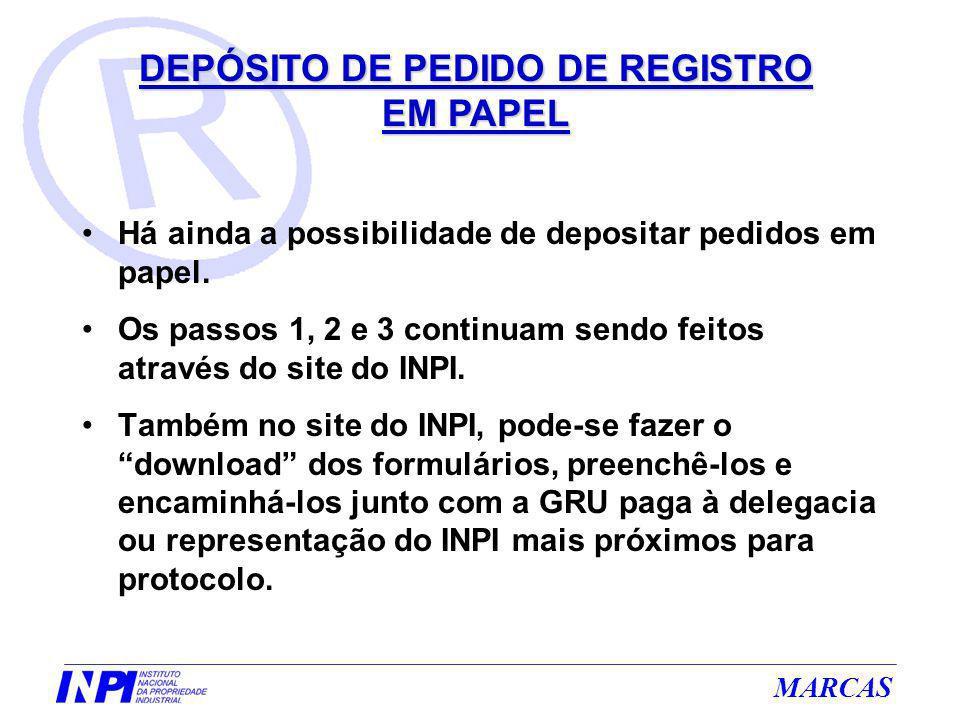 Há ainda a possibilidade de depositar pedidos em papel. Os passos 1, 2 e 3 continuam sendo feitos através do site do INPI. Também no site do INPI, pod