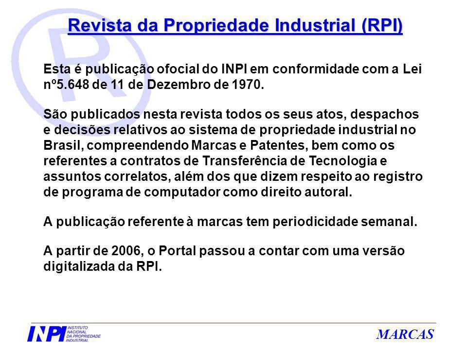 Revista da Propriedade Industrial (RPI) Esta é publicação ofocial do INPI em conformidade com a Lei nº5.648 de 11 de Dezembro de 1970. São publicados