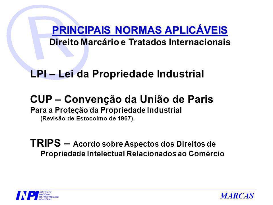 MARCAS PRINCIPAIS NORMAS APLICÁVEIS PRINCIPAIS NORMAS APLICÁVEIS Direito Marcário e Tratados Internacionais LPI – Lei da Propriedade Industrial CUP –