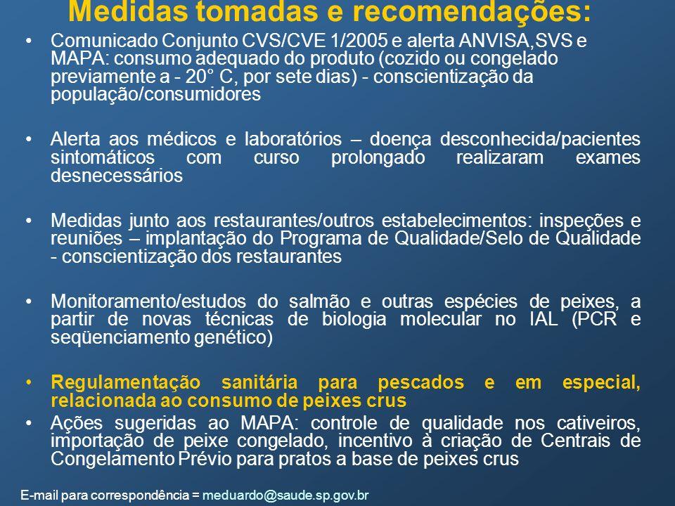 Medidas tomadas e recomendações: Comunicado Conjunto CVS/CVE 1/2005 e alerta ANVISA,SVS e MAPA: consumo adequado do produto (cozido ou congelado previ
