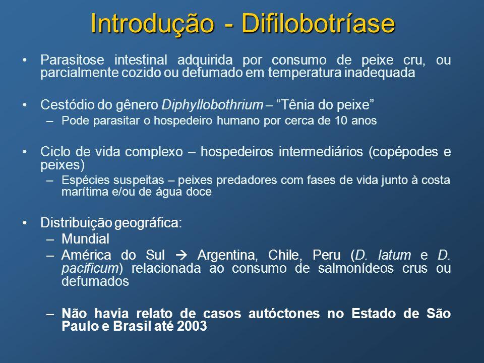 Introdução - Difilobotríase Parasitose intestinal adquirida por consumo de peixe cru, ou parcialmente cozido ou defumado em temperatura inadequada Ces