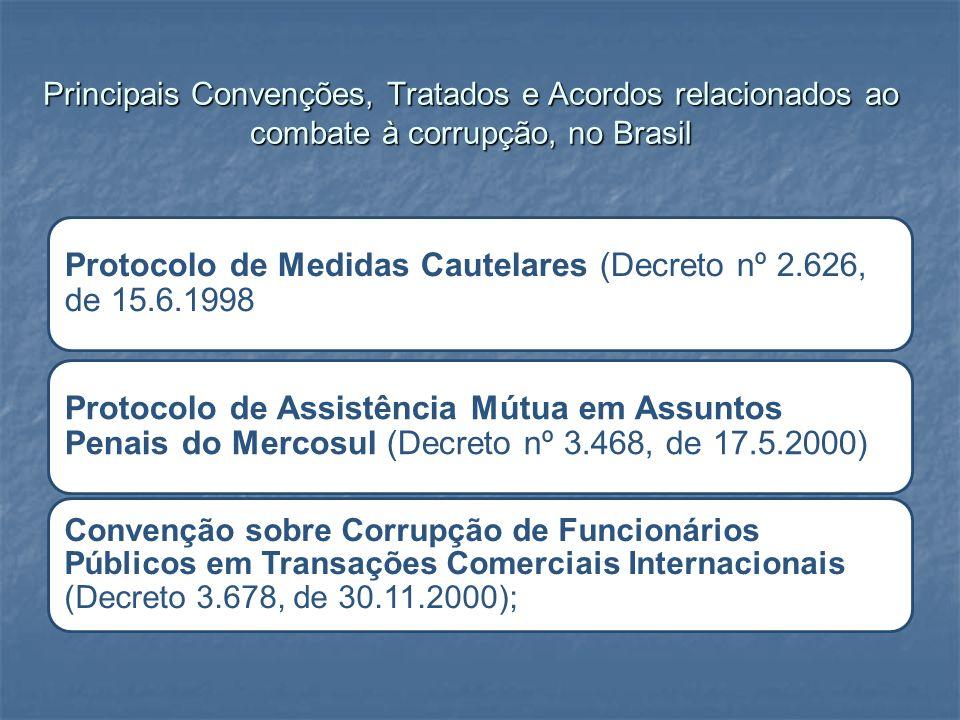Principais Convenções, Tratados e Acordos relacionados ao combate à corrupção, no Brasil Protocolo de Medidas Cautelares (Decreto nº 2.626, de 15.6.19