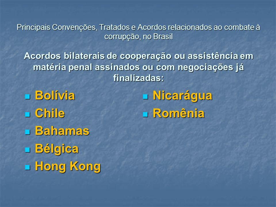 Principais Convenções, Tratados e Acordos relacionados ao combate à corrupção, no Brasil Acordos bilaterais de cooperação ou assistência em matéria pe