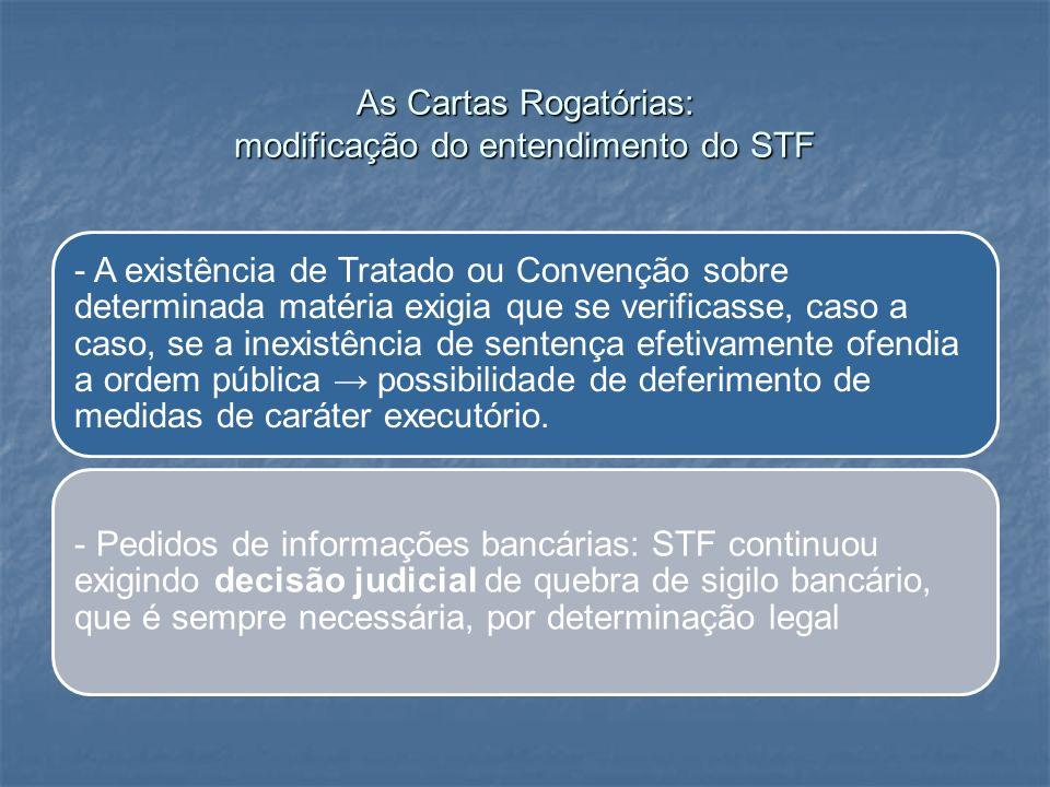 As Cartas Rogatórias: modificação do entendimento do STF - A existência de Tratado ou Convenção sobre determinada matéria exigia que se verificasse, c
