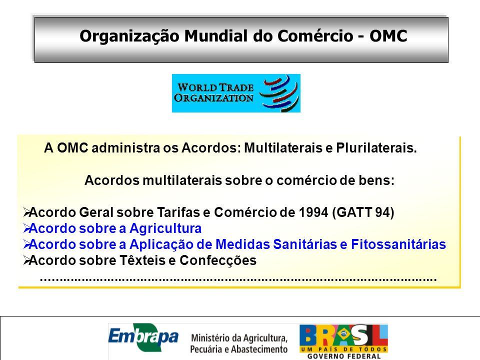 A OMC administra os Acordos: Multilaterais e Plurilaterais. Acordos multilaterais sobre o comércio de bens: Acordo Geral sobre Tarifas e Comércio de 1