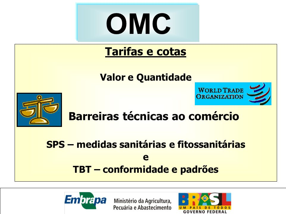 Tarifas e cotas Valor e Quantidade Barreiras técnicas ao comércio SPS – medidas sanitárias e fitossanitárias e TBT – conformidade e padrões OMC