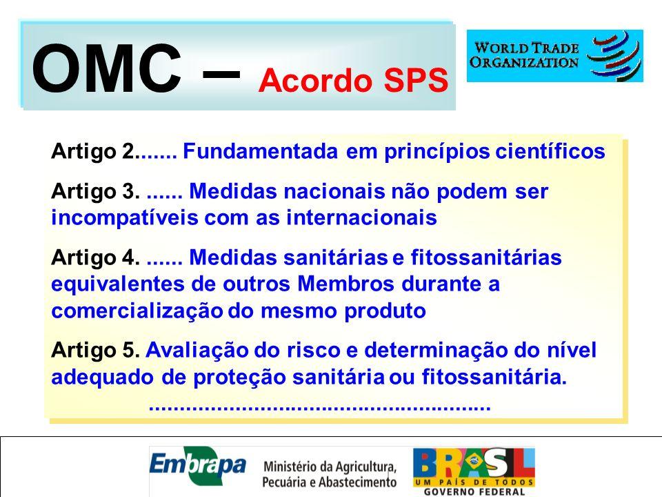 Artigo 2....... Fundamentada em princípios científicos Artigo 3....... Medidas nacionais não podem ser incompatíveis com as internacionais Artigo 4...